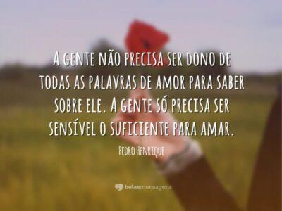 Ser sensível ao amor