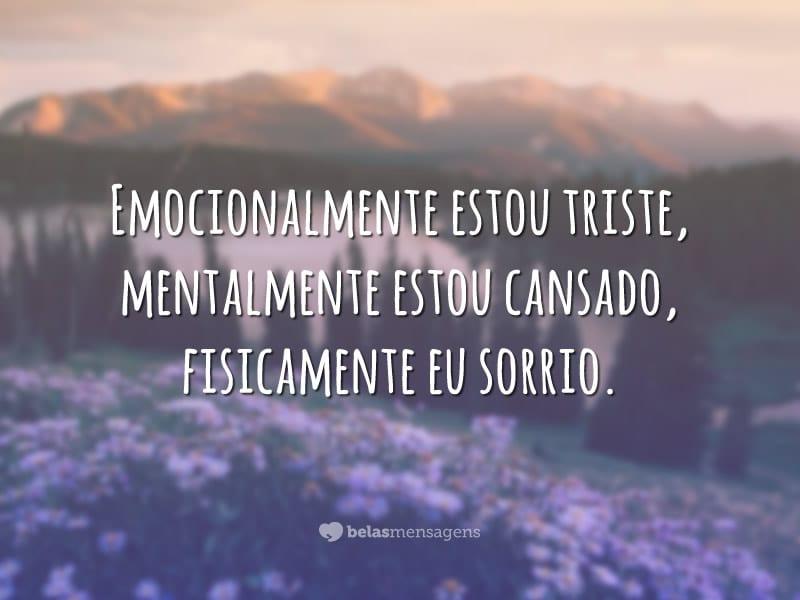 Emocionalmente estou triste, mentalmente estou cansado, fisicamente eu sorrio.