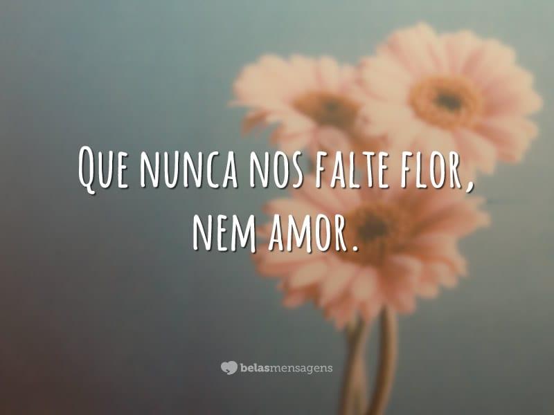 Que nunca nos falte flor, nem amor.