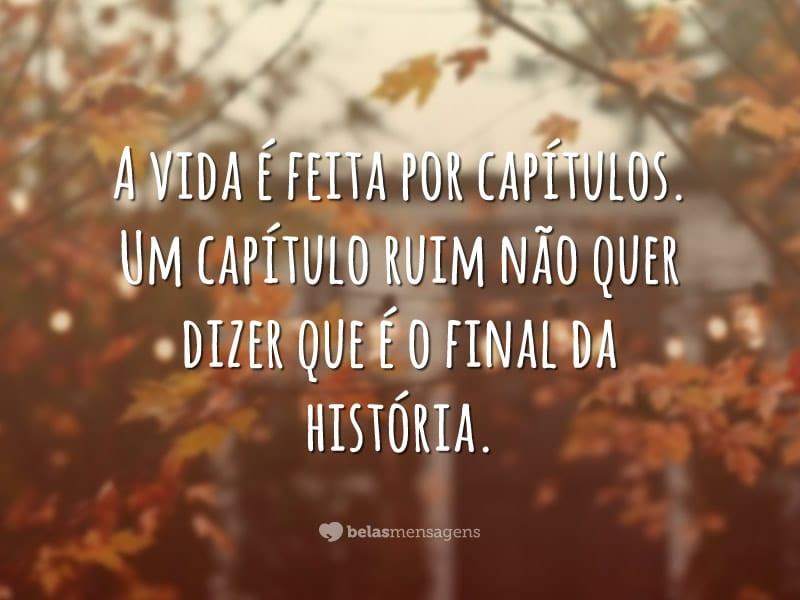 A vida é feita por capítulos. Um capítulo ruim não quer dizer que é o final da história.