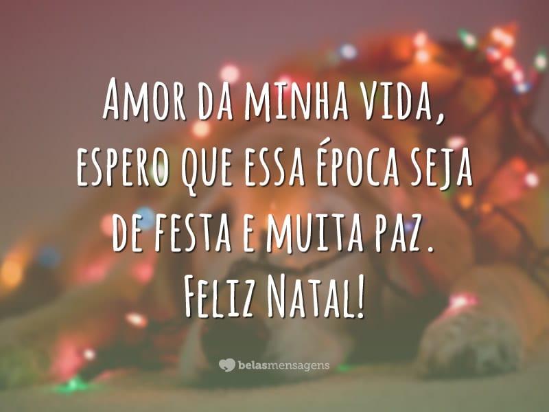 Amor da minha vida, espero que essa época seja de festa e muita paz. Feliz Natal!