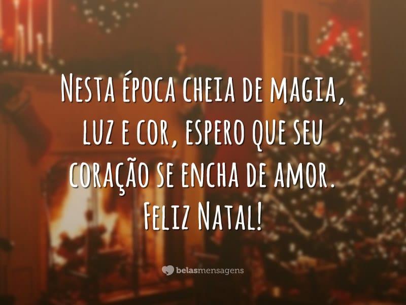 Nesta época cheia de magia, luz e cor, espero que seu coração se encha de amor. Feliz Natal!