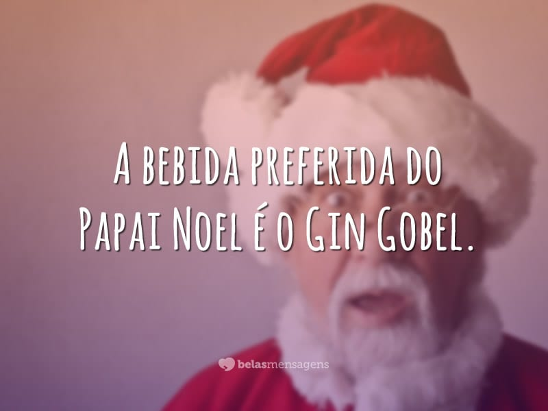 A bebida preferida do Papai Noel é o Gin Gobel.