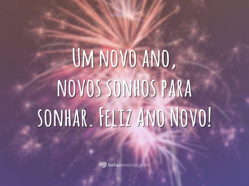 Um novo ano, novos sonhos para sonhar. Feliz Ano Novo!