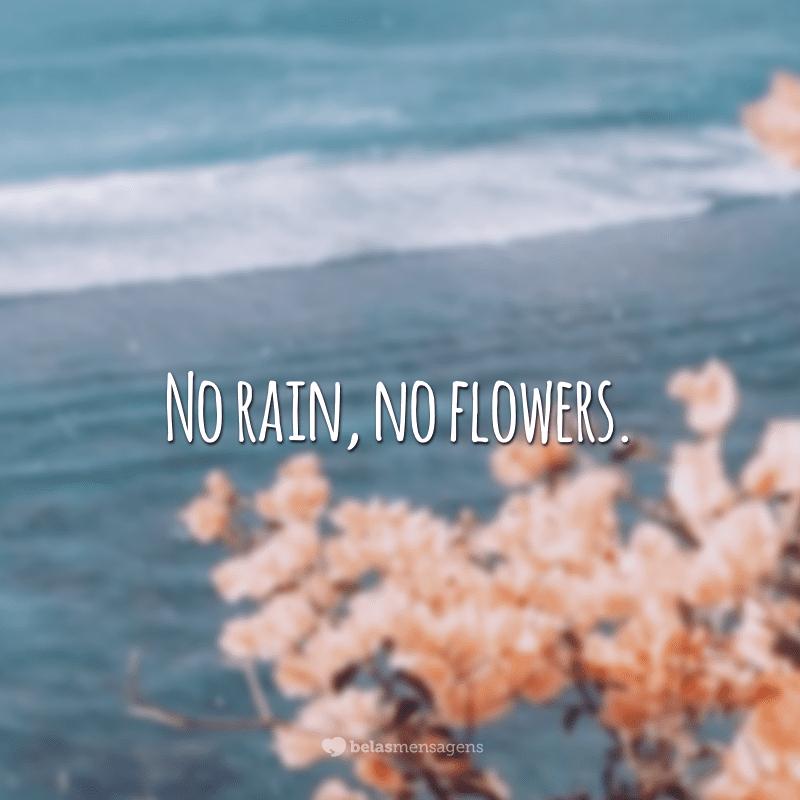 No rain, no flowers. (Sem chuva, sem flores.)