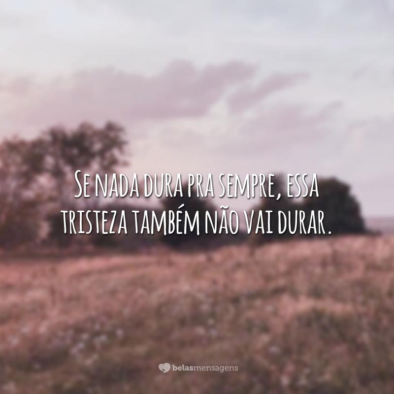 Se nada dura pra sempre, essa tristeza também não vai durar.
