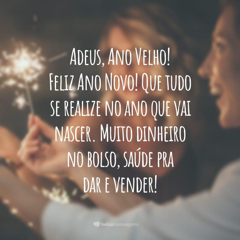 Adeus, Ano Velho! Feliz Ano Novo! Que tudo se realize no ano que vai nascer. Muito dinheiro no bolso, saúde pra dar e vender!