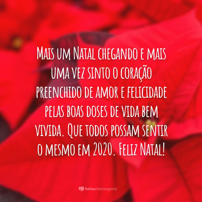 Mais um Natal chegando e mais uma vez sinto o coração preenchido de amor e felicidade pelas boas doses de vida bem vivida. Que todos possam sentir o mesmo em 2020. Feliz Natal!
