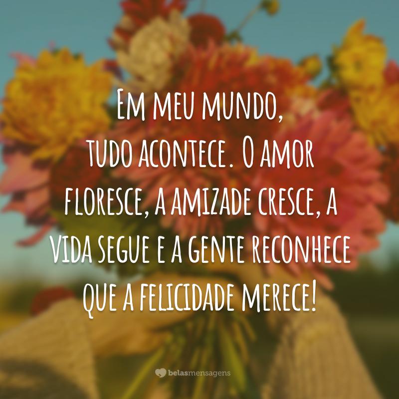 Em meu mundo, tudo acontece. O amor floresce, a amizade cresce, a vida segue e a gente reconhece que a felicidade merece!