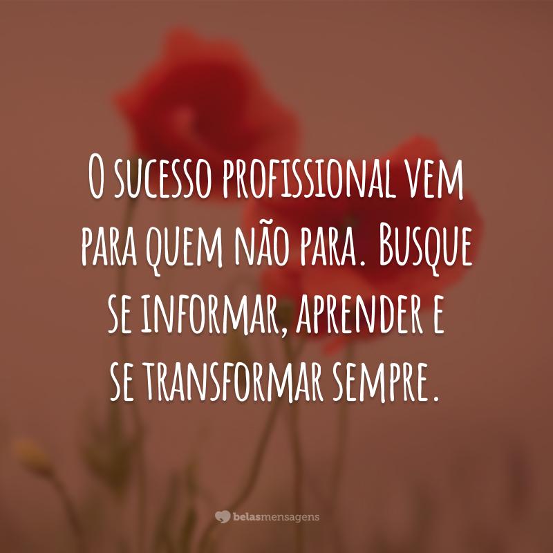 O sucesso profissional vem para quem não para. Busque se informar, aprender e se transformar sempre.