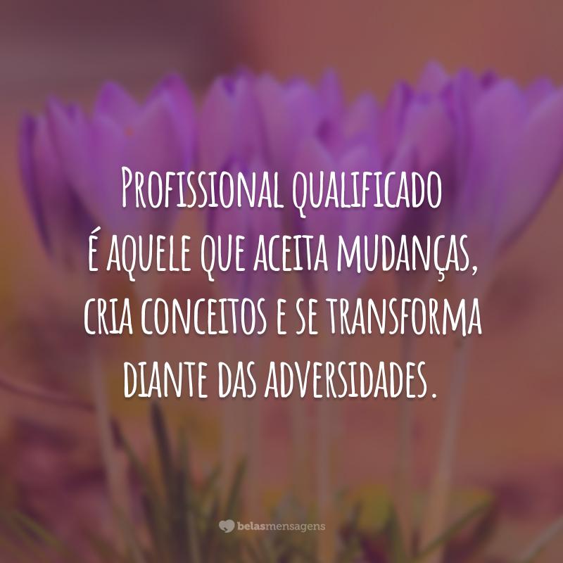 Profissional qualificado é aquele que aceita mudanças, cria conceitos e se transforma diante das adversidades.