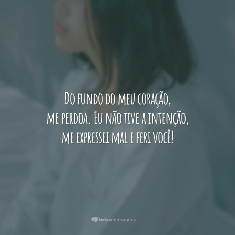 Do fundo do meu coração, me perdoa. Eu não tive a intenção, me expressei mal e feri você!