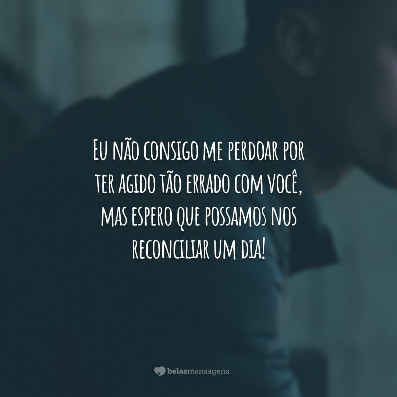Eu não consigo me perdoar por ter agido tão errado com você, mas espero que possamos nos reconciliar um dia!