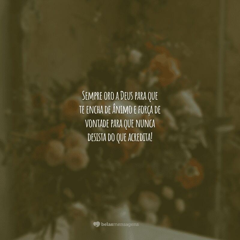 Sempre oro a Deus para que te encha de ânimo e força de vontade para que nunca desista do que acredita!