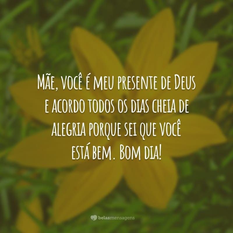 Mãe, você é meu presente de Deus e acordo todos os dias cheia de alegria porque sei que você está bem. Bom dia!
