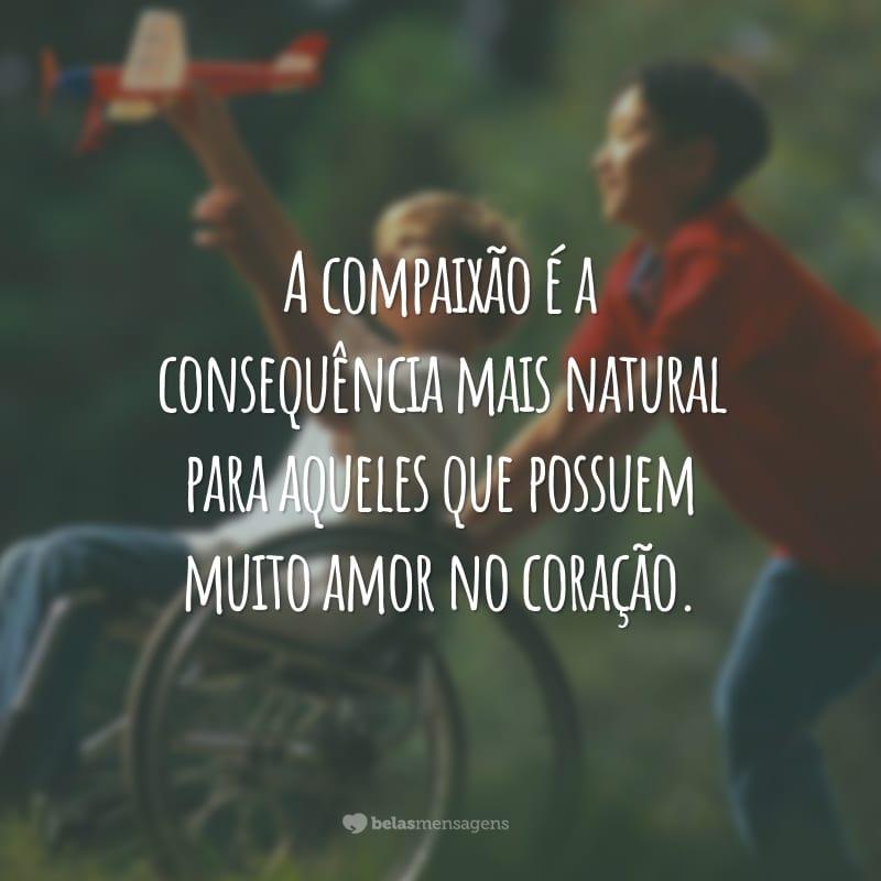 A compaixão é a consequência mais natural para aqueles que possuem muito amor no coração.